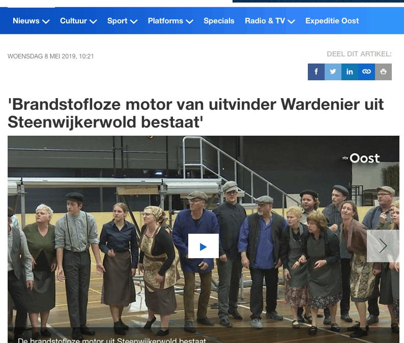 'Brandstofloze motor van uitvinder Wardenier uit Steenwijkerwold bestaat'